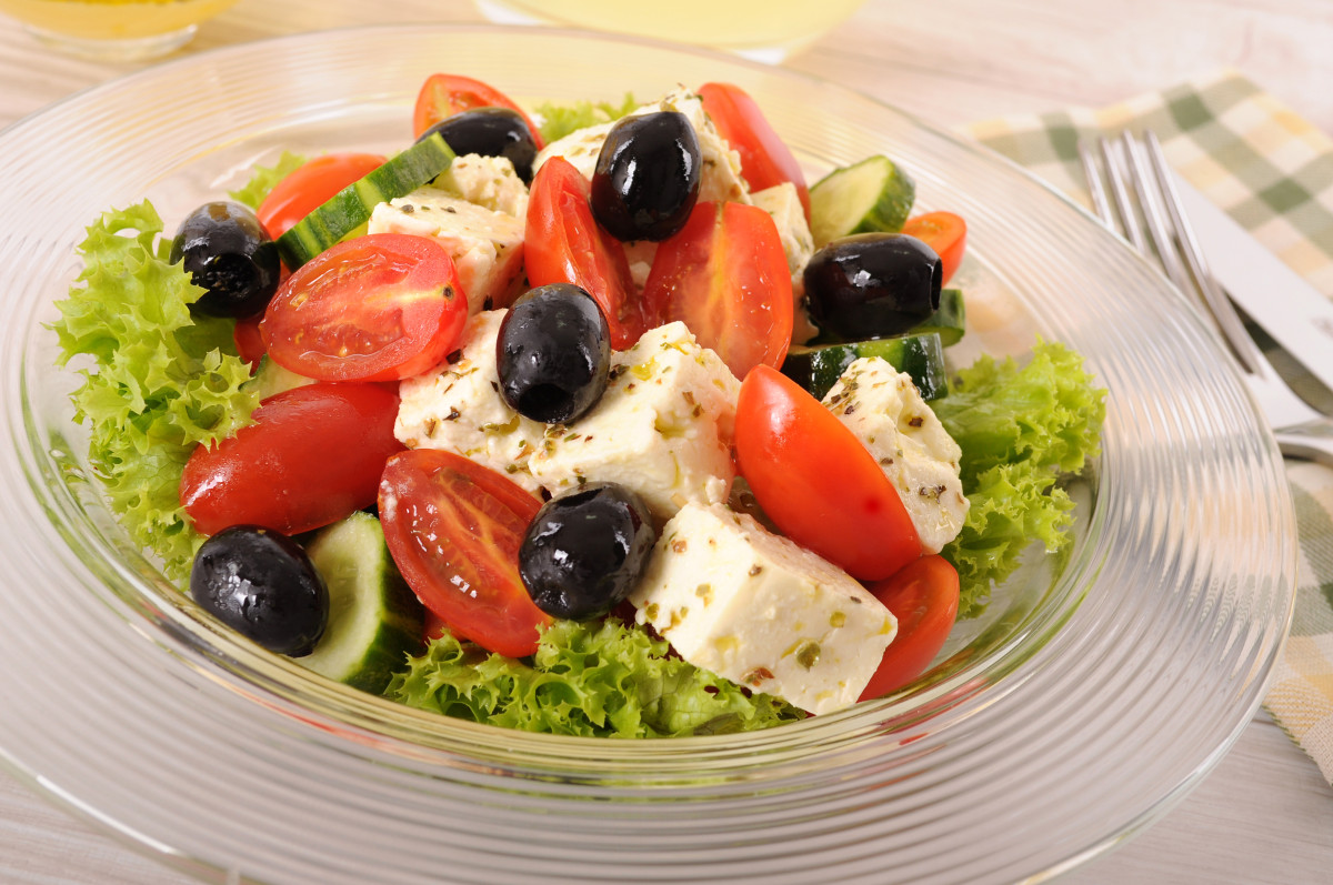 Greek salad in glass bowl