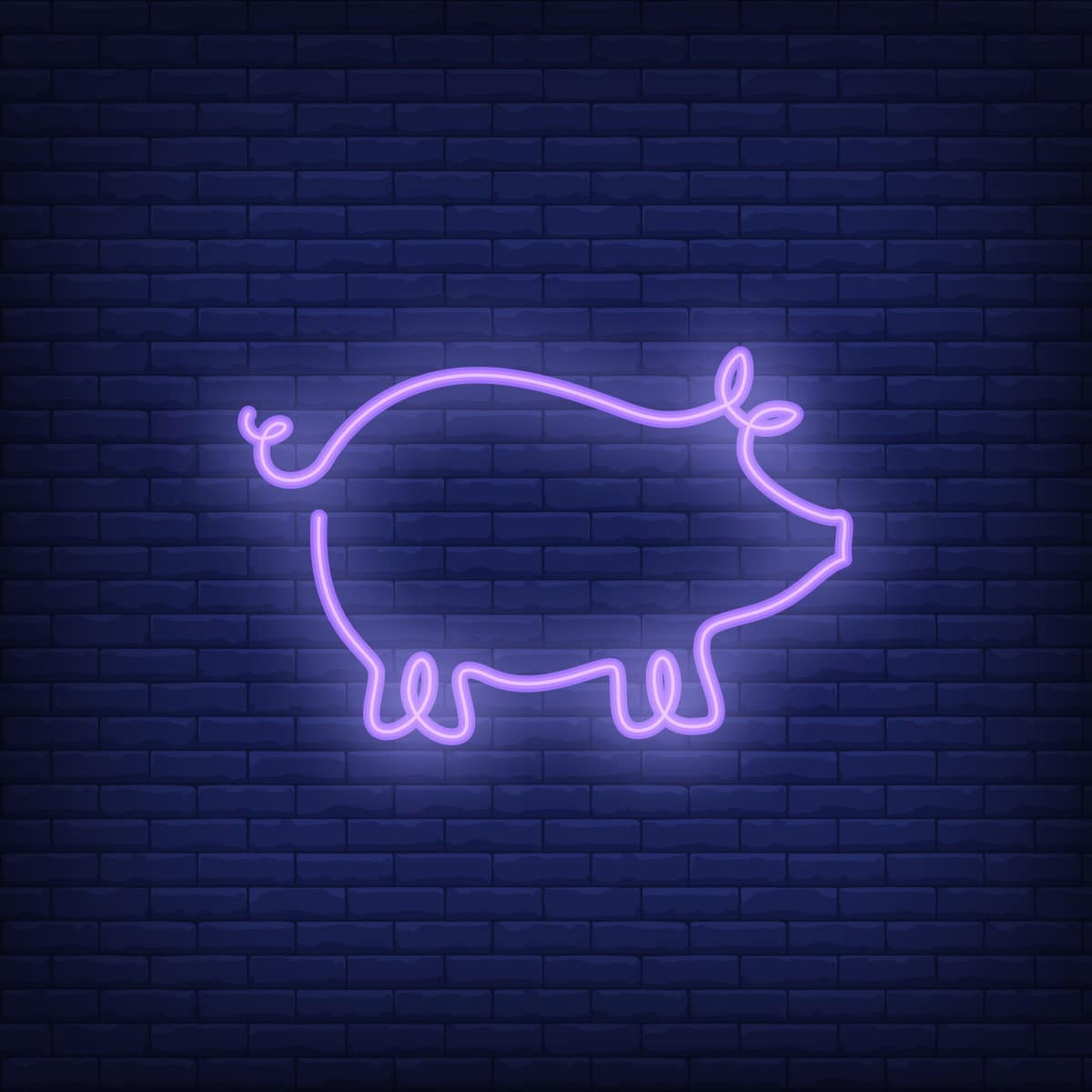 Pig shape neon sign template. Night bright advertisement. Vector illustration for restaurant, cafe, diner, menu, advertising design