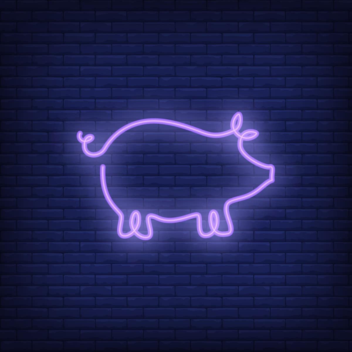 Pig shape neon sign template. Night bright advertisement. Vector illustration for restaurant, cafe, diner, menu, advertising design